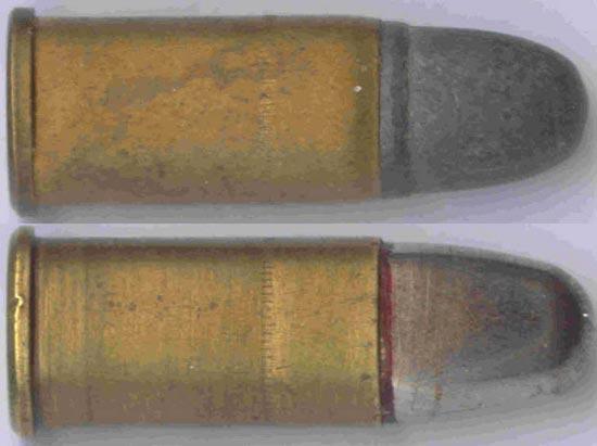 .38 Smith & Wesson с безоболочечной (вверху) и оболочечной пулей (внизу)