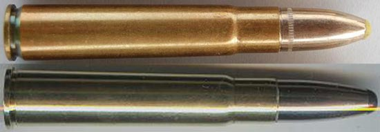 9x57 Mauser (сверху) 9x57 R Mauser (снизу)