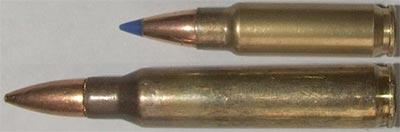 5.7x28 (сверху) 5.56х45 НАТО (снизу)