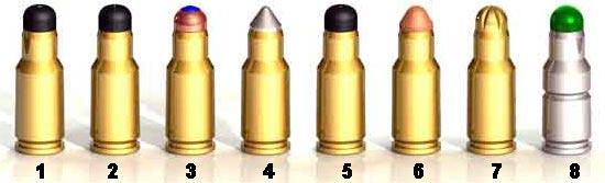 1 - 6.5x25 CBJ, 2 - 6.5x25 CBJ ST, 3 - 6.5x25 CBJ HET, 4 - 6.5x25 CBJ Subsonic AP, 5 - 6.5x25 CBJ TRP, 6 - 6.5x25 CBJ Frangible, 7 - 6.5x25 CBJ Blank, 8 - 6.5x25 CBJ Drill