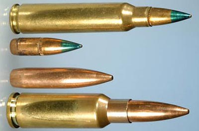 5.56x45 NATO (arriba) 6.5x38 Grendel (abajo)