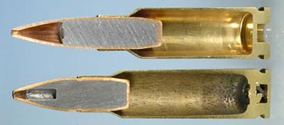 6.5x38 Grendel (arriba) 6.8x43 SPC (abajo)