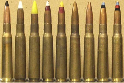 Слева - направо .50 Browning Armor-Piercing M2 (Brazil) .50 Browning Armor-Piercing-Incendiary (Dominican Republic) .50 Browning Armor-Piercing (Dominican Republic) .50 Browning Armor-Piercing-Incendiary-Tracer (Dominican Republic) .50 Browning Armor-Piercing-Tracer (Dominican Republic) .50 Browning Ball M33 (Greece) .50 Browning Ball M33 Sniper Quality (Israel) .50 Browning Armor-Piercing-Incendiary M8 (Israel) .50 Browning Armor-Piercing-Incendiary-Tracer M20 (Israel)