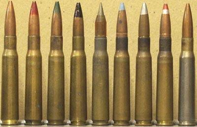 Слева - направо .50 Browning Ball M33 (USA) .50 Browning Tracer M1 (USA) .50 Browning Armor-Piercing M1 (USA) .50 Browning Armor-Piercing M2 (USA) .50 Browning SLAP (USA) .50 Browning Incendiary M1 (USA) .50 Browning Armor-Piercing-Incendiary M8 (USA) .50 Browning Armor-Piercing-Incendiary-Tracer M20 (USA) .50 Browning Test, High Pressure Test M1 (USA)