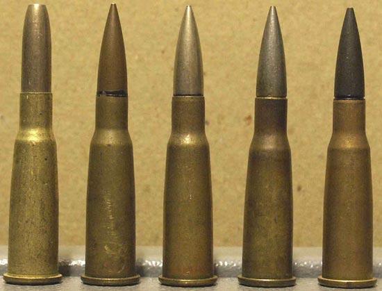 8x50 R Lebel Balle M, M 1886 D, M 1932 N, M 1917 T, M 1915 P (слева-направо)
