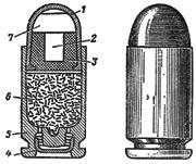 9x18 (57-H-181C) 1-биметаллическая (плакированная) оболочка; 2-стальной сердечник; 3-свинцовая рубашка; 4-капсюль; 5-гильза; 6-пороховой заряд; 7-пуля.