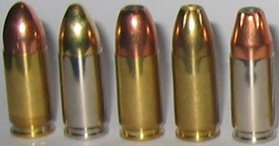 9x19 Luger FMJ; FMJ nick; HP (R-P); HP (CBC); HP nick (слева-направо)