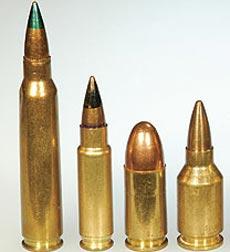 слева - направо: 5.56x45, 5.7x28 mm SS190, 9x19 Parabellum, .224 BOZ