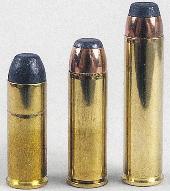 .45 Colt, .454 Casull, .460 S&W (слева-направо)
