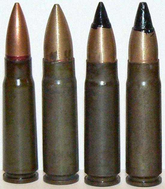 7.62х39, СП-5, СП-6, ПАБ-9 (слева - направо)