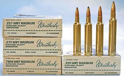 .257 Weatherby Magnum .270 Weatherby Magnum 7 mm Weatherby Magnum .300 Weatherby Magnum (слева-направо)