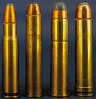 .356 Winchester .444 Marlin .45-70 Government .450 Marlin (слева-направо)