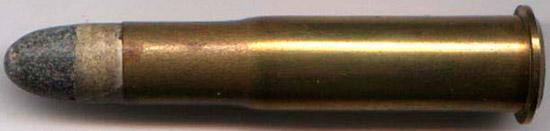 11x59 R Gras, выпускавшийся до 1879 года (хорошо видна свинцовая пуля в бумажной обертке)