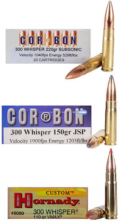 .300 Whisper снаряженные пулями разной массы