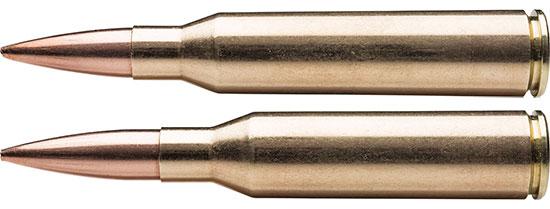 .338 Norma Magnum (снизу) и .338 Lapua Magnum (сверху)