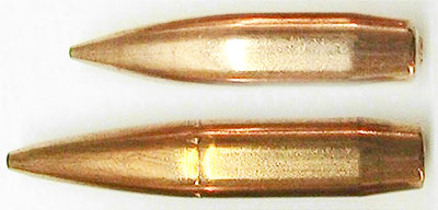 Пуля .338 Norma Magnum (снизу) и .338 Lapua Magnum (сверху)