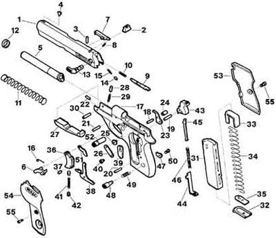 Bersa Mod 644 детали пистолета