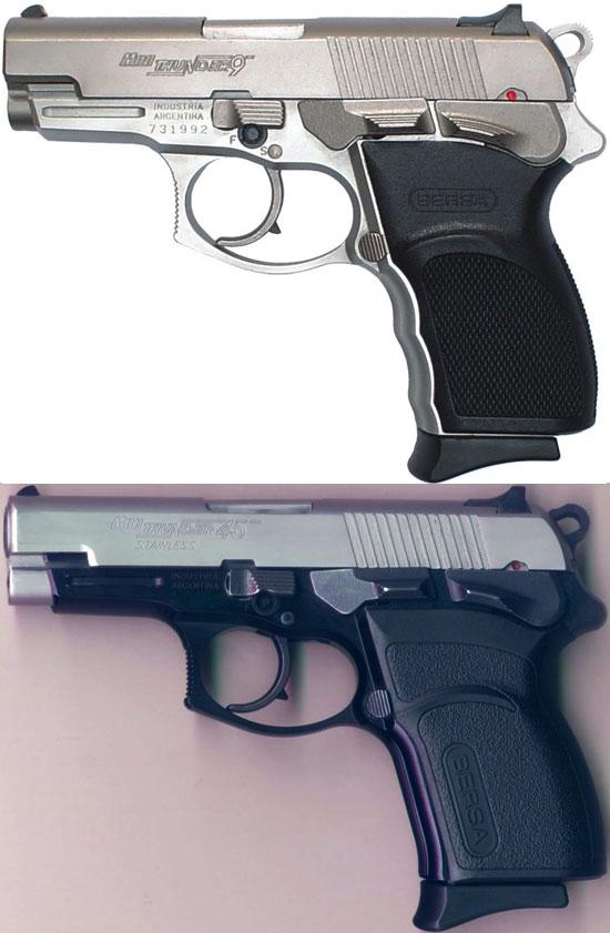 Bersa Mini Thunder 9 (сверху) и Mini Thunder 45 (снизу)