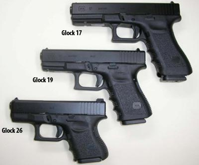 Glock 17, Glock 19, Glock 26 (сверху вниз)