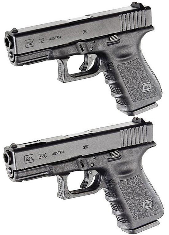 Glock 32 (сверху) и Glock 32C (снизу)