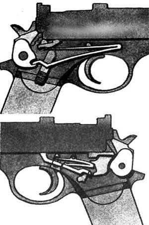 Боевая пружина (сверху) и УСМ (снизу) пистолета Маннлихера обр. 1905 г.