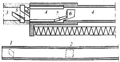 Схема запирания Roth-Steyr M 1907: 1 – передние выступы ствола; 2 – задние выступы ствола; 3 – муфта; 4 – затвор; 5 – винтовые пазы муфты; 6 – кольцевые пазы затвора; 7 – винтовые пазы затвора.