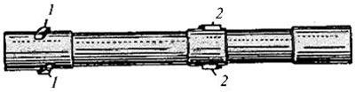 Ствол Roth-Steyr M 1907: 1 – поворачивающие выступы; 2 – боевые выступы.