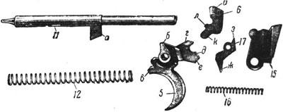 Детали ударно-спускового механизма Roth-Steyr M 1907: 5 – спусковой крючок; 6 – автоматический предохранитель; 11 – ударник; 12 – боевая пружина; 15 – спусковой рычаг; 16 – спусковая пружина; 17 – разобщитель.