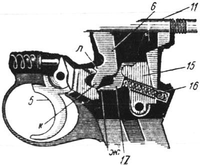 Схема работы ударно-спускового механизма Roth-Steyr M 1907: 5 – спусковой крючок; 6 – автоматический предохранитель; 11 – ударник; 15 – спусковой рычаг; 16 – спусковая пружина; 17 – разобщитель.