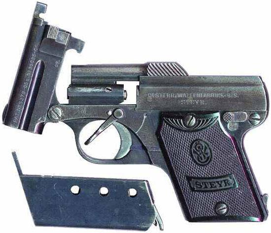 Steyr-Pieper M1909 с откинутым стволом