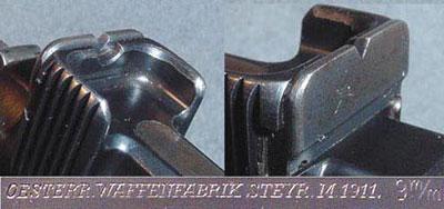 регулируемый целик и клеймо коммерческой модели Steyr M1911