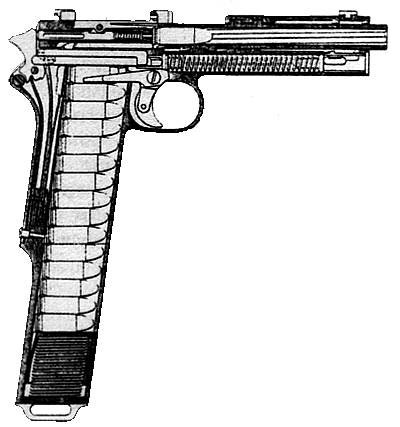Разрез пистолета М1912/16 Введение дополнительной тяги и переводчика, управляющего ее взаимодействием с шепталом, обеспечивало возможность стрельбы очередью