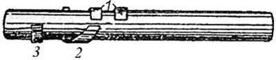 Ствол Steyr M1912: 1 - боевые выступы; 2 - поворачивающий выступ; 3 - ограничивающий выступ