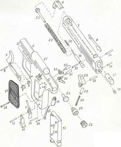 Bayard 1908 устройство пистолета