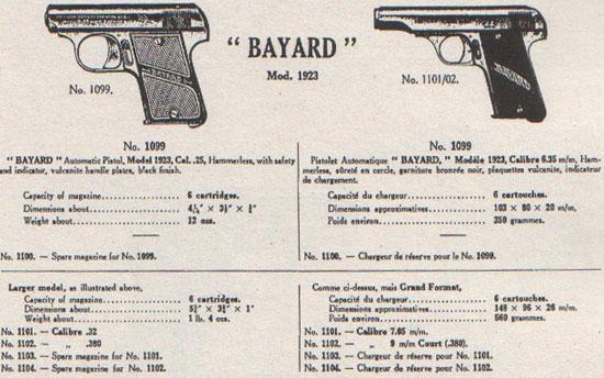 Bayard 1923 под патроны 6.35х15 мм (слева) и 7.65х17 мм, 9х17 мм (справа)
