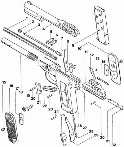 FN Browning M 1900 устройство пистолета