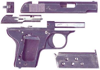 неполная разборка Melior New Model калибра 6.35 мм (образца 1920 года)