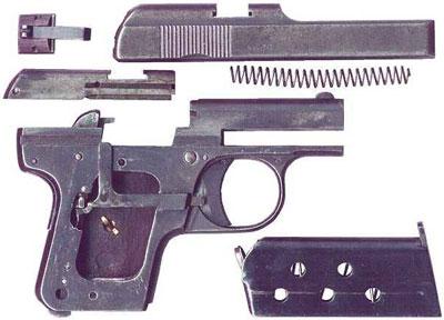 неполная разборка Melior New Model калибра 6.35 мм (образца 1925 года)