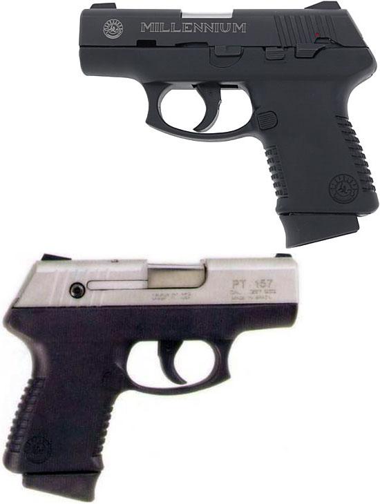 Taurus Millennium (1-ое поколение) PT 140B (сверху) и PT 157SS (снизу)
