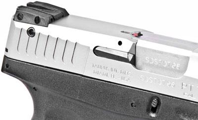 вид на целик, замок безопасности TSS и указатель наличия патрона в патроннике пистолетов Taurus серии Slim