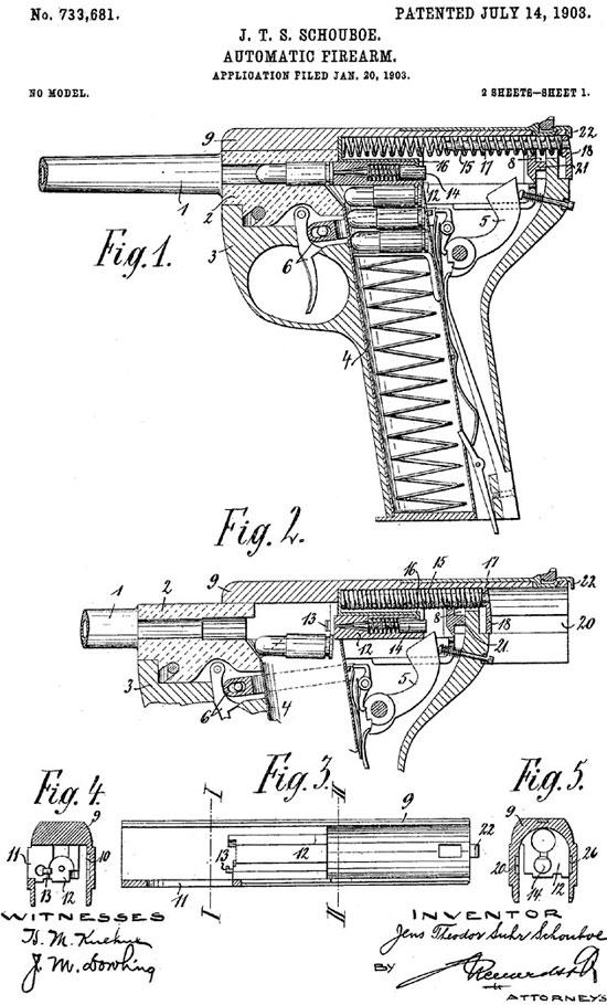 схема из патента пистолета Schouboe