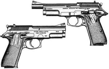 Victory Arms MC5 с длиной ствола 111 мм (снизу) и 149 мм (сверху)