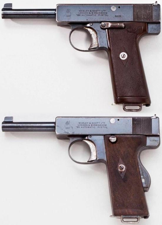Webley & Scott M 1910 с флажковым предохранителем - сверху и с рамочным автоматическим предохранителем - снизу