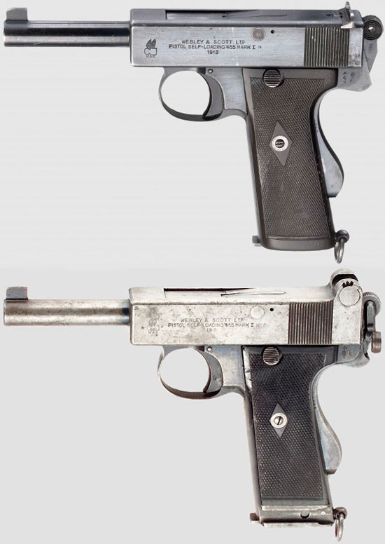 Webley & Scott Pistol self-loading .455 Mark I Navy (сверху) и Webley & Scott Pistol self-loading .455 Mark I № 2 (снизу)