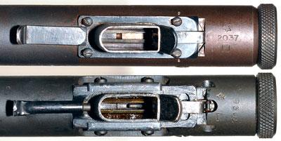 Вид на приемник магазина Welrod Mk II (сверху) и Welrod Mk IIA (снизу)