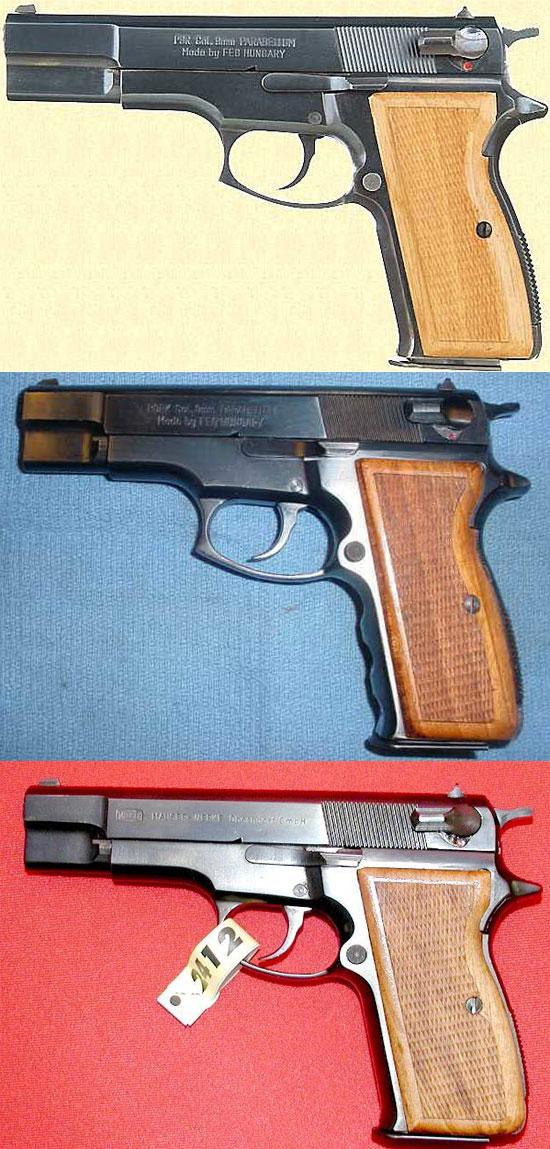 FEG P9R (сверху) FEG P9RK (посредине) Mauser 90 DAC (снизу)
