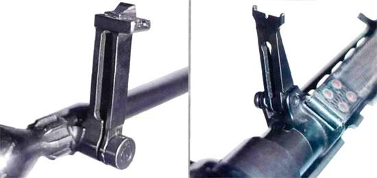 Прицельные приспособления W/7.92: мушка (слева), прицел (справа)