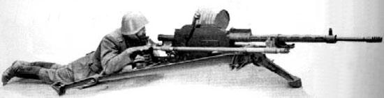Madsen 1935 (в варианте ПТР), установленный на полевом лафете