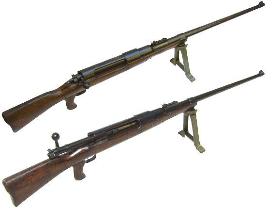 Mauser T-Gewehr M 1918 (с закрытым затвором - вверху и открытым затвором - внизу)