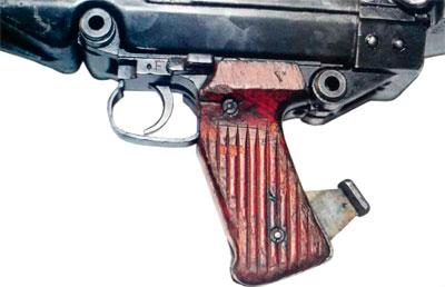 Пистолетная рукоятка ПТР PzB 38 (хорошо видны флажковый и автоматический предохранители)